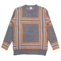 Large Patterned Check Crew Knit